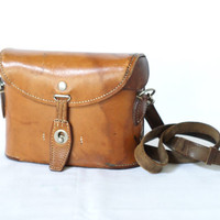 SWISS ARMY 1934 Binoculars Bag or Case, Military Saddle Leather, Cognac Tan, Man Bag, Men's Crossover Messenger Fishing Bag from Switzerland