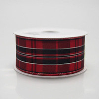 Plaid Checkered Metallic Wired Ribbon, 1-1/2-inch, 10-yard, Black/Red
