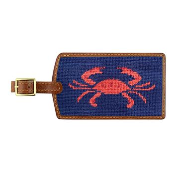 Coral Crab Needlepoint Luggage Tag by Smathers & Branson
