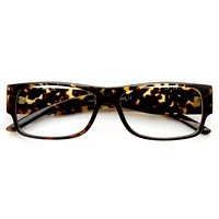 Large Modern Metal Accent Clear Lens Rectangle Glasses 9340