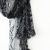 Black and silver tulle shawl, Black handmade shawls, Black bride scarves, Black Christmas gift, Sexy black shawl, Black lovers, Silver shawl