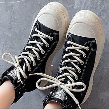 New thin fashion thick-soled breathable canvas Martin boots shoes