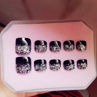 24 Pcs/set Mysterious Glitter Toe Fake Nails Black Artificial Short Square Press on Nail tips for Home Office Party