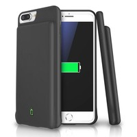 Iphone 8 Plus / 7 Plus / 6s Plus / 6 Plus Battery Case Lohi 7000mah Capacity Support Headphones Ultra Slim Extended Battery Rechargeable Protective Portable Charger 5.5' Black