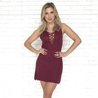 In A Knitted Relationship Dress in Burgundy