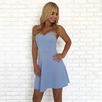 Positive Charge Skater Dress In Baby Blue