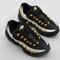 Nike Air Max 95 Child Shoes Black White Gold Toddler Kid Shoes - Best Deal Online