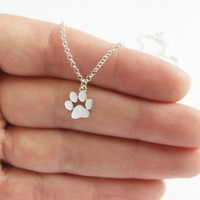 Silver Choker Necklace  Cats and Dogs Paws