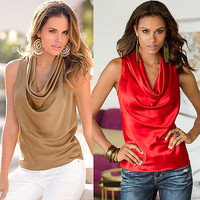 2016 New Sexy Fashion Women Lady Blouse Clothing Summer Sleeveless V-neck Tops Tee Sleeveless Casual Blouse Loose
