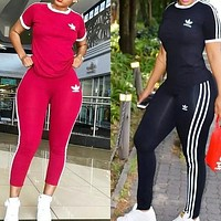 Adidas Women Summer Top Pants Sweatpants Set Two-Piece Set