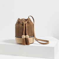 LEATHER BUCKET BAG WITH CORD New