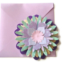 Purple and Green Flower Shaped Note Card