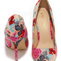 Main Abstraction Red Floral Print Pumps