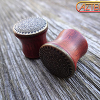 """Exotic Wood """"Xicalanca"""" TRIBAL PLUGS - 1 New Pair - Choose from sizes 00 gauge 7/16"""" 1/2"""" or 9/16"""""""