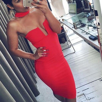 Women Caged Low Cut Backless Turtleneck Bodycon Dress