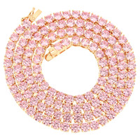 "14k Rose Gold Finish 18"" 4mm Pink Lab Diamond Tennis Necklace XmasDeal"