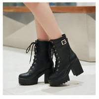 Women Boots Punk Round Toe High Boots Women Winter Martin Boots Square Heel Ankle Boots Women Platform Botas Femininas