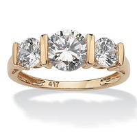 2.50 TCW Round Cubic Zirconia 10k Yellow Gold 3-Stone Bridal Engagement Ring