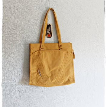 """Indie Vtg 70's Canvas Cotton """"STOW-A-WAY"""" Traveler Tote Bag Purse"""