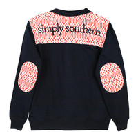 Simply Southern Pullover Navy Vine Pattern Long Sleeve Sweatshirt Shirt Jacket Sweater