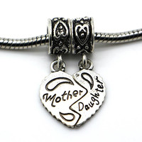 1Pc Free Shipping 925 Sliver Bead Women Diy Mother and Daughter Love Heart Pendants Fit Pandora Charm Bracelets & Necklace