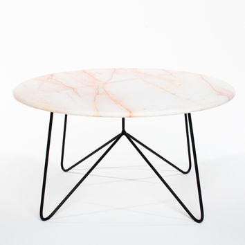 Filetto Rosso Marble & Black Powder coated Steel Table
