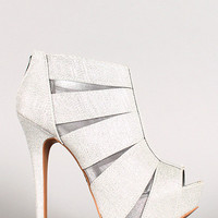 Glitter and Mesh Peep Toe Bootie