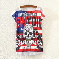 summer style motorcycle skull logo printing short sleeve T-shirt