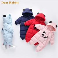Baby boy girl Clothes born Winter Hooded Rompers Thick Cotton Outfit born Jumpsuit Children Costume toddler romper