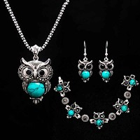 Stone  Necklace set Owl bracelet&earrings; Necklace Jewelry for Women Pendant Long Chain Necklace-in Pendant Necklaces for gift
