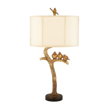 Three Bird Light Table Lamp in Gold Leaf and Black Gold Leaf,Black