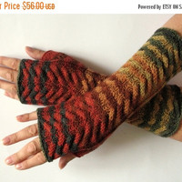 REGULAR PRICE Fingerless Gloves Brown Beige Red Orange Yellow Green wrist warmers