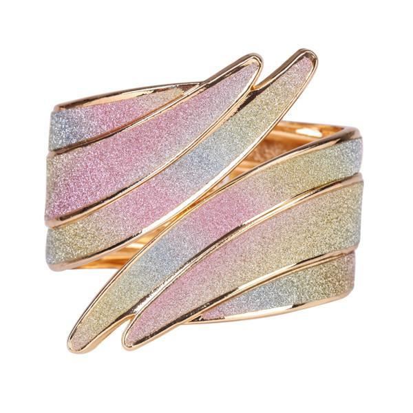 Image of Beautiful Spiral Gold Bangle Bracelet with Multicolor Diamond Dust Look