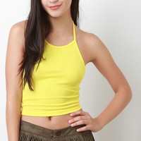 Ribbed Knit Halter Crop Top