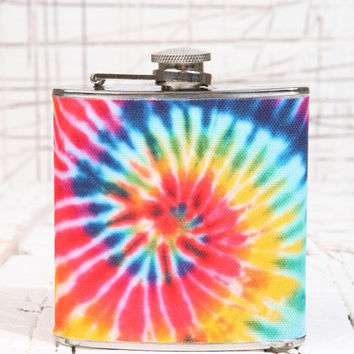 Rainbow Tie-dye Hip Flask at Urban Outfitters