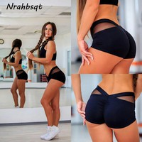NRAHBSQT Mesh Compression Tights Short Breathable Women Gym Short  Fitness Workout Elastic Yoga Shorts Activewear YD003