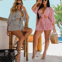 Women Sexy Two Piece Striped Wrap Crop Top Skirt Set