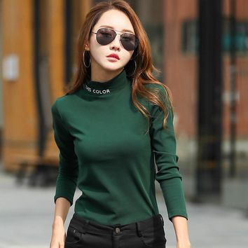Merry Pretty Plus Size Long Sleeve T Shirt Women Winter Basic Cotton T-shirt Tops Casual Turtleneck T Shirts Femme Poleras Mujer