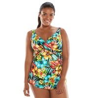 Upstream Floral Pleated One-Piece Swimsuit - Women's Plus
