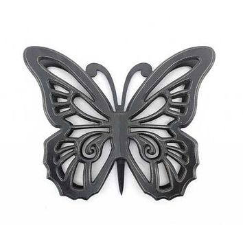 """18.5"""" x 23.25"""" x 4.25"""" Black Rustic Butterfly Wooden  Wall Decor"""