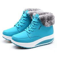 LAKESHI Winter Boots Female Wedge Women Boots Ankle Boots for women 2018 Fashion Warm Fur Snow Boots Ladies Flats Platform Shoes