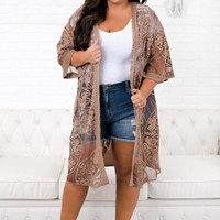 Curvy First Love Embroidered Kimono (Mocha)