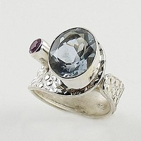 Alexandrite & Amethyst Sterling Silver Adjustable Wrap Ring