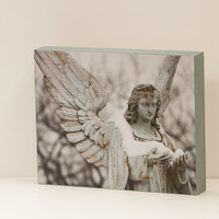 Snow Angel Wall Panel - 8x10 Photo Standout, Fine Art Photography, Religious Wall Decor, Ready to Hang, Winter, Cemetery, Grey, Neutral Blue