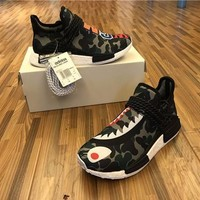 Sale BAPE x Pharrell Williams x Adidas PW HU Human Race NMD Boost Sport Running Shoes Classic Casual Shoes Sneakers