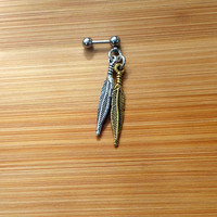 Silver & Gold Feathers - 14g 16g 18g Cartilage Barbell Piercing