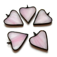 Stained Glass Hearts Set of 5 pink, Gift Tags, Topper, Package tag, Charm, Wedding/Hostess Favors, Garland, Wreath Decoration, Ornaments