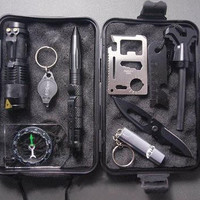 SUPER 10 in 1 Professional Survival Kit Outdoor Travel Hike Field Camp Emergency Kit