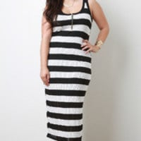 Women's Striped Zip Up Dress in Plus Sizes