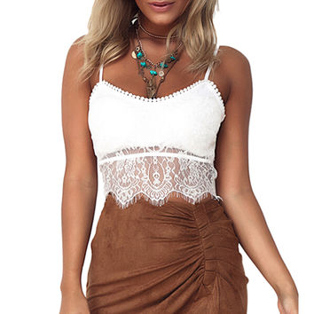 Knitted Crochet Lace Spaghetti Straps Crop Top Sexy Side Zipper Short Tops Ladies Camisole Tank top Women Crop Top